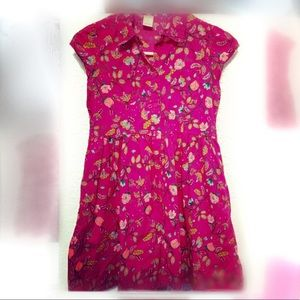 Floral Print Magenta Button Down Cotton Dress sz12